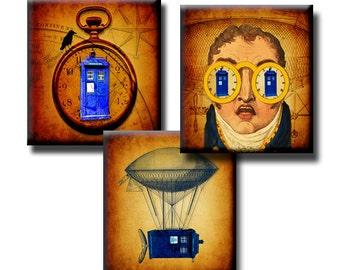 Flight of the Tardis - 0.75 x 0.83 - Digital collage sheet