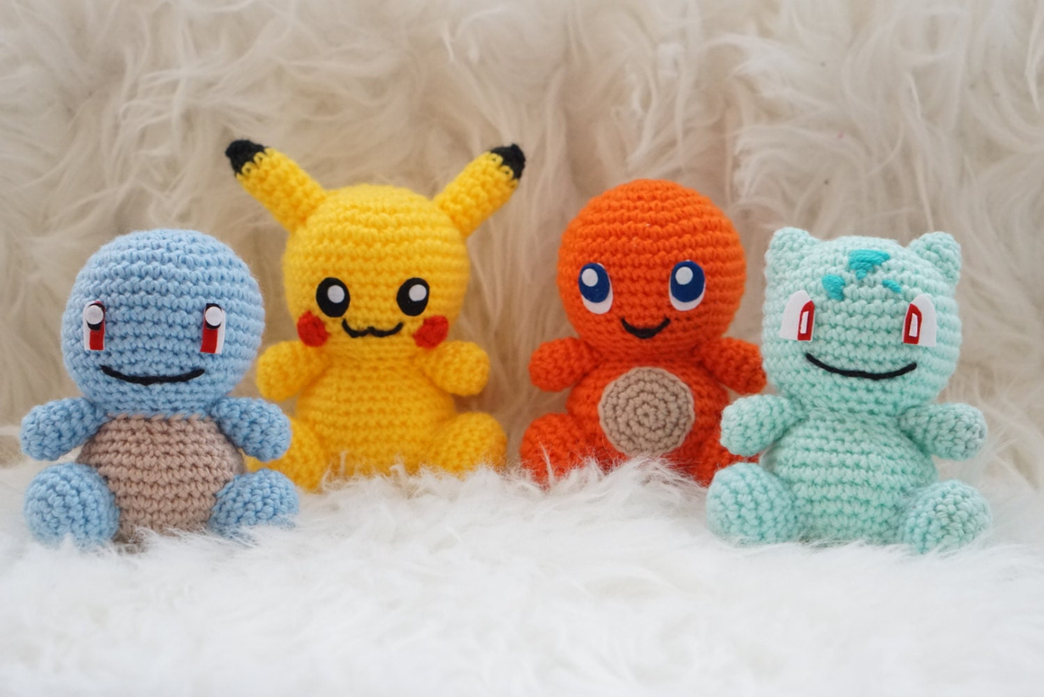 Pack 4 in 1 : Pikachu, Squirtle, Charmander and Bulbasaur Amigurumi ...