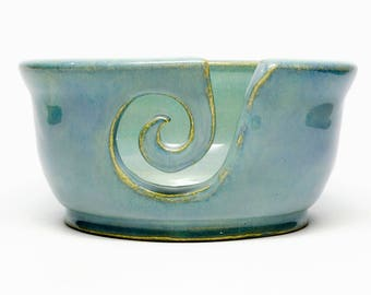 Pottery Yarn Bowl - custom ceramic turquoise yarn bowl - wheel thrown stoneware yarn bowl - handmade - knitting gift - crochet gift