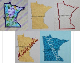 Minnesota Applique, filled and outline Set of 5 MN  Digitized Machine Embroidery Design