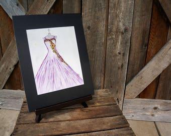 Original watercolor dress, Hand painted, Purple dress, Flowers, Matted artwork, Girl's room, Birthday gift, Gift, Watercolor dress, Women's