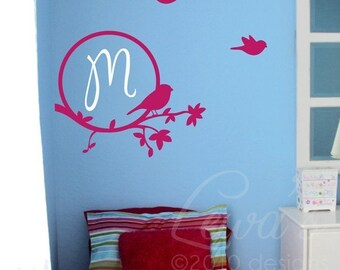 Birdies and Branch Circle Monogram Vinyl Wall Decal