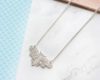 Bee necklace, origami bee, silver bee, Honeybee Necklace, geometric bee necklace, origami animal necklace, honeybee charm, insect jewelry