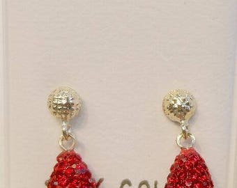 New 14kt Solid Gold Crystal Red Briolette Earrings-Free Shipping!