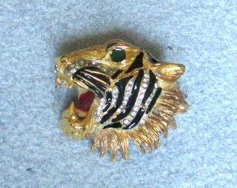 Unsigned Hattie Carnegie Enamel & Rhinestones Tiger Head Brooch
