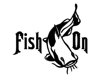 Catfish Fishing Decal - Fish On Sticker - Outdoorsman Catfish Silhouette Sticker - Fish on Decal