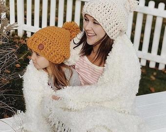 Slouch Hat, Child Slouch Hat, adult slouch hat, Crochet Slouch Hat, Kids Slouch Hat, Winter Hat, Beanie Slouch Hat, Pom Pom Slouch Hat