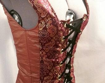 Renaissance Bodice - Copper and Purple - XS