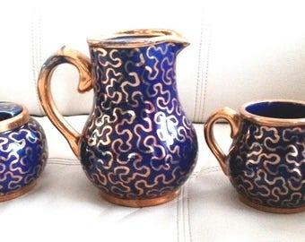 Vintage 1950's Teapot, creamer & sugar bowl - Sudlow's Burslem deep blue gold squiggles