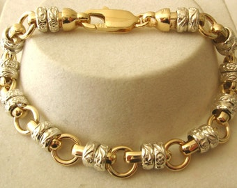 Genuine SOLID 9K 9ct Yellow Gold and White Gold 2 Colour New Design Belcher Bracelet with Parrot Clasp 19.5 cm