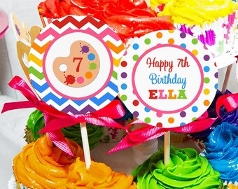 Painting Art Cupcake Toppers - Printable or Assembled/Shipped with FREE Shipping - Rainbow PaintCollection