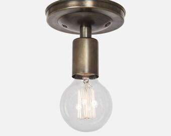 Flush Mount Ceiling Lighting - Vintage Brass Ceiling Light Fixture - Kitchen Lighting - Bathroom Vanity Lighting  - Foyer Light - Hardwire