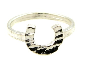 Birdhouse Jewelry  -  Tiny Silver Horseshoe Ring