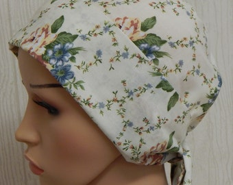 Cotton floral summer chemo hat, cancer head covering bonnet, hair loss head covering, alopecia hair wrap, chemotherapy head scarves caps
