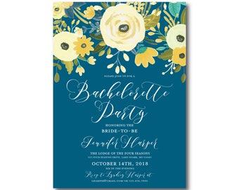 Floral Bachelorette Party Invitation Yellow and Blue Invitation Floral Wedding Spring Wedding Printable Bachelorette Party Invite #CL337