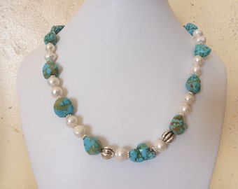 Freshwater pearls necklace, howlite stone necklace, turquoise and white necklace, stone bead necklace, My special gift