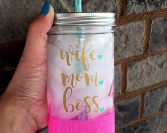 Wife Mom Boss, Mom Boss Cup, Mom Tumbler, Mompreneur, Mom Tumbler, Water Bottle, Wifey, Wifey For Lifey, Boss Mom Cup