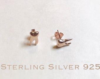 Rose Gold over Sterling silver teeth stud earrings, Dental earrings, molar earrings, dental gifts, tooth earrings, tooth studs