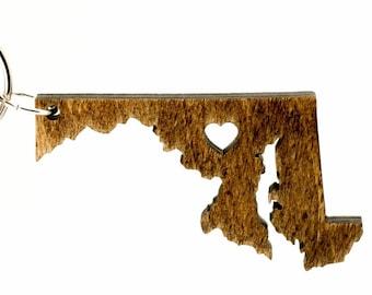 Maryland Wooden Keychain - MD State Keychain - Wooden Maryland Carved Key Ring - Wooden MD Charm - Maryland State Keychain - State of MD