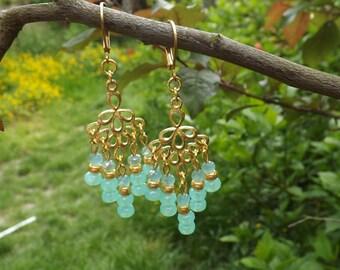 """Earrings """"Moira"""" Czech glass, gold, brass plated pins gold"""