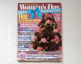 Woman's Day Magazine, Recipes, Crafts, Advice, Teddy Bear Iron On, Special 50th Anniversary Collector's Issue, Vintage, October 27, 1987