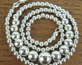 Vintage Sterling Silver Necklace jewelry 18 inch graduated sterling beads on sterling chain 925 Italy RSE