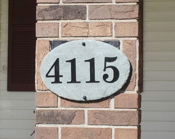 Oval Carved Slate House Number Sign