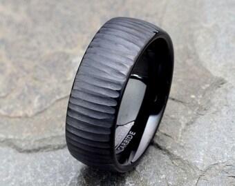 Tungsten Wedding Band, 8mm, Black Brushed Wedding Band, Mens Wedding Band, Tungsten Wedding Ring, Personalized Ring, Black Tungsten Ring