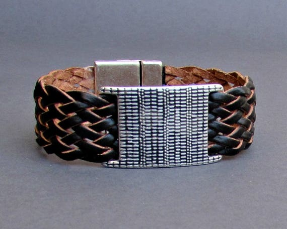 Braided Leather Bracelet Cuff Mens Silver Bracelet Cuff Customized To Your Wrist