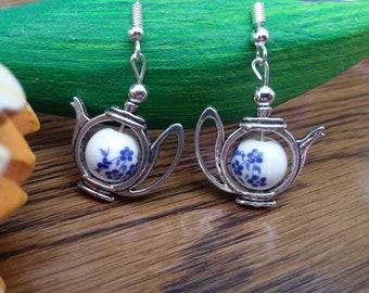 Teapot Earrings - Blue Flower Earrings