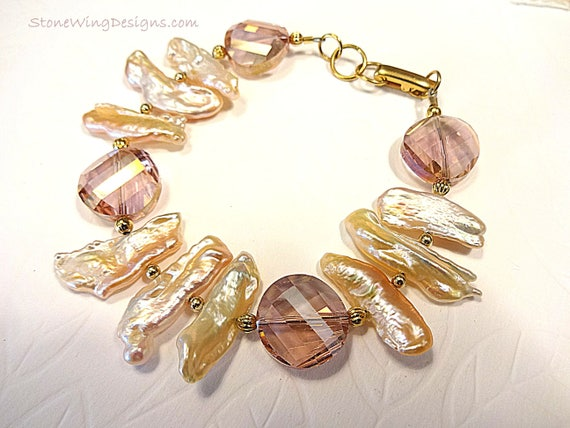 Biwa Stick Pearl and Crystal Bracelet in Ivory and Pink