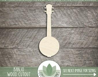 Wood Banjo Laser Cut Shape, Wooden Banjo, Banjo Cut Out, Many Size Options And Shapes, Laser Cut Wood Crafting Shapes, Blank Wood Shapes
