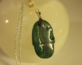 "Natural Malachite Pendant Necklace Sterling Silver 18"" Chain And Bale Large Green Organic Gemstone Stone Healing Jewelry"