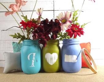 Pennsylvania State Art, State Pride Gift, Personalized Gift, Mason Jar Decor, Housewarming Gift, Painted Mason Jars, New Home Gift