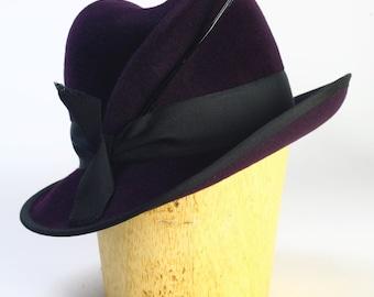 Aubergine Purple Draped Velour Fur Felt Winter Fedora Wide Brim Hat,Black Grosrain Ribbon,Patent Leather Quill-Handmade Custom Millinery