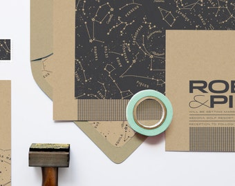 "Constellations Wedding Invitation Set: ""The Astronomer"" from the Robin Collection"