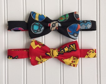 Pokemon Bow Tie Pre-tied with Adjustable Neck Band - Picachu bow tie, Pokemon Balls bow tie