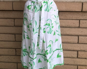 70s Novelty Print Skirt Frog + Grasshopper Skirt with Ric Rac by Mr. Hank Size Large
