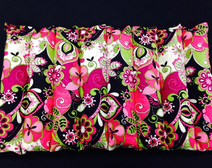 Therapeutic Lumbar Corn Heating Pad - Microwavable Heat Pack - Hot Cold Therapy Pillow - Green Pink Black Floral