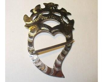 Sterling Trade Silver Crowned Weeping Heart Brooch