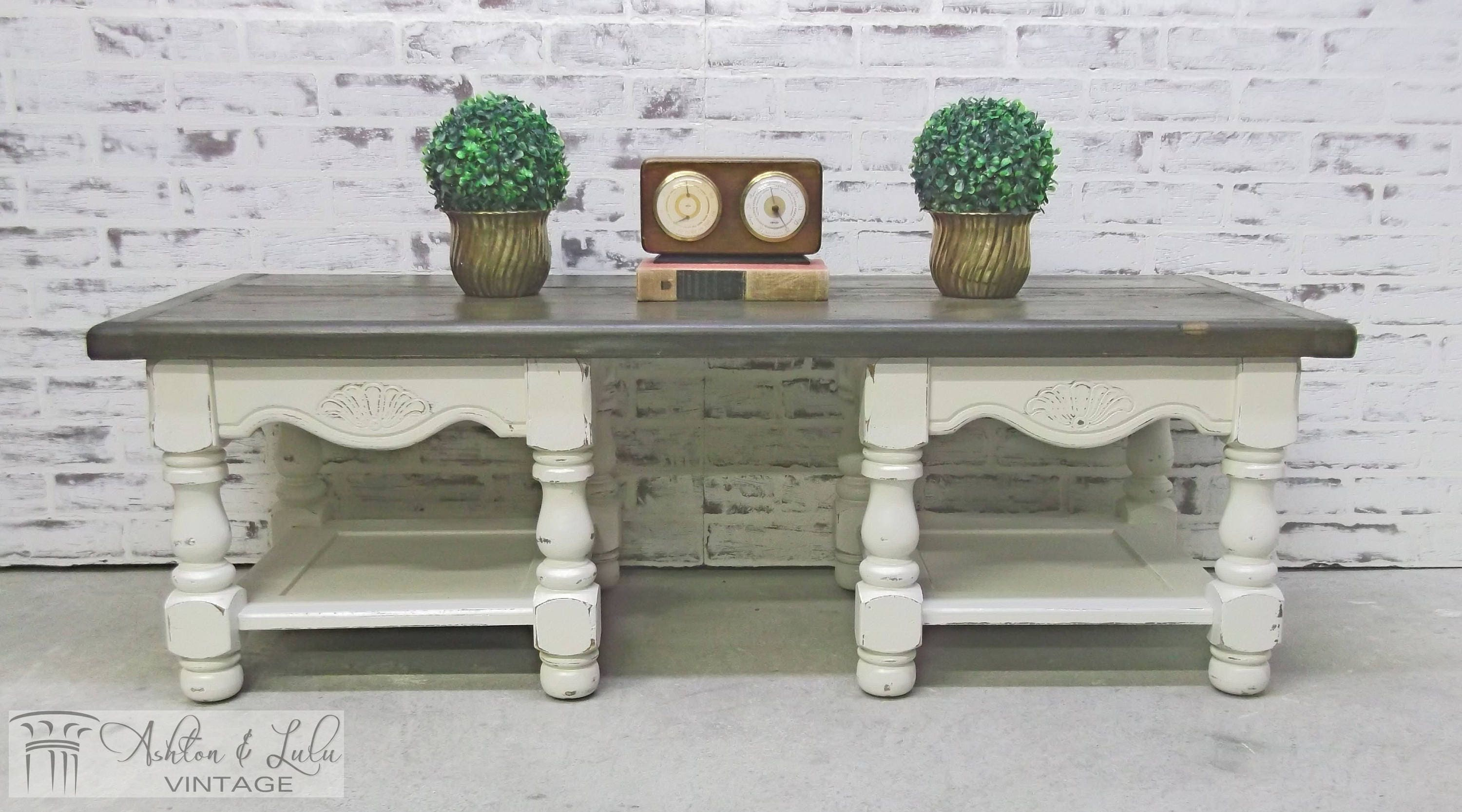 Coffee Table Bench Distressed White Cottage Style Stained ~ Cottage Style Sofa Table