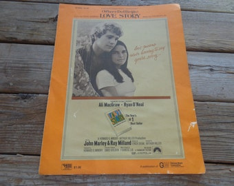 """Vintage 1971 """"Love Story"""" - Where Do I Begin - Sheet Music - """"Love Means Never Having To Say You're Sorry"""" - Vintage Sheet Music"""