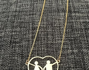 Heart necklace for mothers of two children. Best push present for moms to be. Have your children next to you all day, everyday.