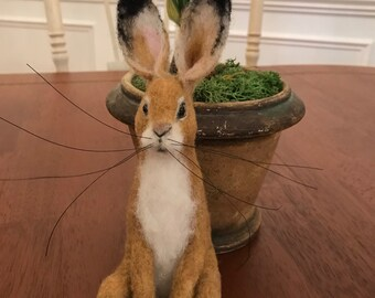 "Needlefelted Merino wool Rabbit, Hare, Bunny Lifelike armature sculpture  8"" sit"