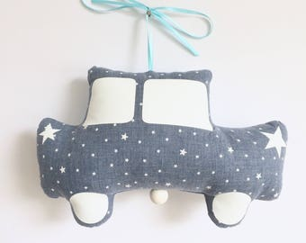 Musical Mobile car Trabant Jules Denim - Blue - music box - a star in my cabin
