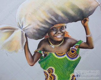 African Child  PORTRAIT Large Artwork Realistic Tribes girl DRAWING colourful green dress pastel Wall art African room decoration muddpuppie