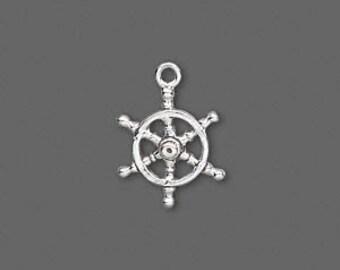 Sterling Silver Pilots Wheel / Ships Wheel charm / pendant