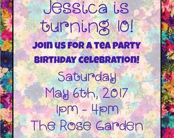 "Tea Party 5""x7"" Custom Party Invitation Digital Printable"