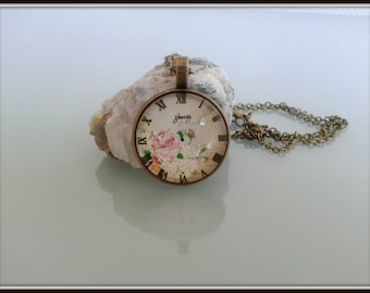 Clock Roman numeral necklace