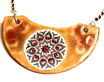 Red and Brown Mandala Sparkle Surly Ceramic Necklace With Rhinestone Chain